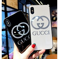 GUCCI Fashion Glass Personality Creative Shiny Letter iPhone X 8 8 Plus 7 7 Plus iPhone 6 6 plus iPhone Cover Case I12285-1