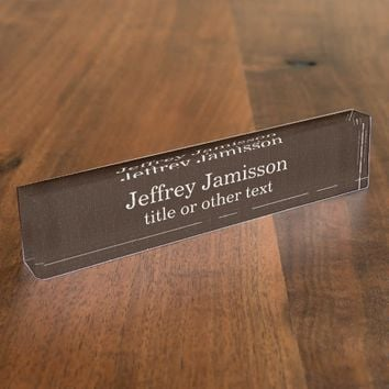 Acrylic Desk Nameplate Brown Faux Textured Burlap