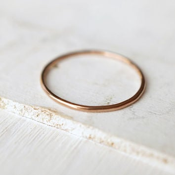 Rose Gold Ring, Stack Ring, Smooth Gold Ring, 14k Gold Ring, Plain Ring, Delicate Ring, Recycled Jewelry, Wedding Ring, Engagement Ring