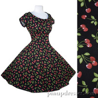 Cherries Dress Red Black Rockabilly Pinup Retro Short Sleeves Cotton
