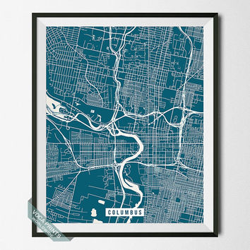 Columbus Print, Ohio Map Poster, Columbus Street Map, Ohio Print, Wall Art, Home Decor, Wall Decor, Office Decor, Back To School