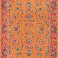 nuLOOM Floral Persian Mirella Orange Rug