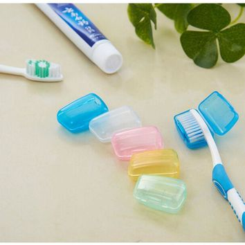 NEW 1set/5pcs Portable Travel Toothbrush Head Cover Case Protective Caps Health Germproof Brush Case Protect Hike Brush Cleaner