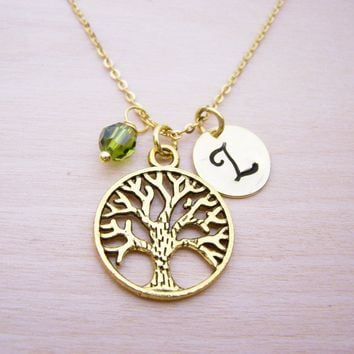 Tree of Life Necklace - Gold Initial Necklace - Birthstone Necklace - Gold Initial Necklace - Personalized Necklace - Tree Charm