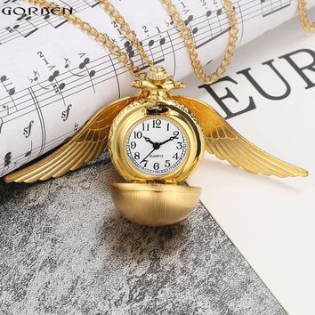 Luxury Retro Golden Ball Pocket Watch with Wings Steampunk Small Quartz Pocket Watch Chain Necklace Christmas Pendant for Women