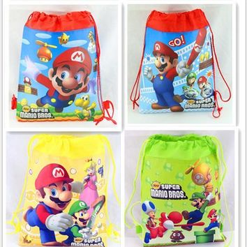 12Pcs New Super Mario Drawstring Boys Girls Cartoon School Bag Children Printing School Backpacks for Birthday Party Gifts