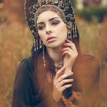 Goth Couture 'Golden Night' Kokoshnik Headdress by LivVFree