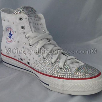 White Chuck Taylor High Top Crystal Rhinestone Converse Bridal Prom Romany Shoes  Sparkle cf0efad43