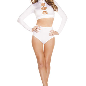 Long Sleeved Cut-out Top w/ O-Rings - White