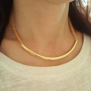 Gold Curved Necklace / Curved Bar Necklace / Minimalistic Jewelry / Gold Choker / Simple Arch Necklace / N275