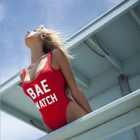 Sexy letters printed one piece swimsuit (Red)