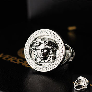 versace medusa head pinkie or index finger ring replica