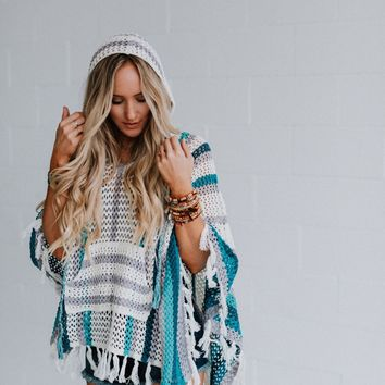 Esparanza Crochet Hooded Poncho - Blue Crochet