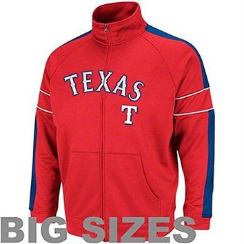 Texas Rangers Majestic Cooperstown Field Track Jacket Size XLT