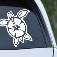 Turtle Hibiscus Hawaii Die Cut Vinyl Decal Sticker