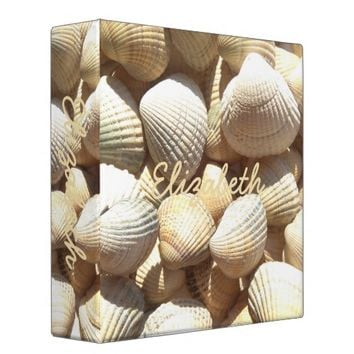 Sunny Summer Beach Seashells Name Elizabeth 3 Ring Binder