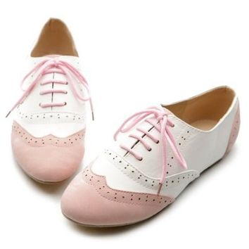 Ollio Women's Shoe Classics Lace Up Dress Low Flat Heel Multi Color Oxford(9 B(M) US, Pink-White)