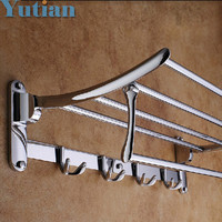 HOT SELLING FREE SHIPPING Bathroom towel holder Foldable towel rack 50cm Stainless steel towel rack with hooks