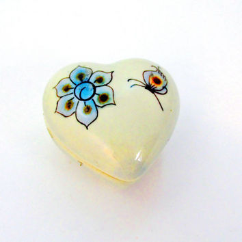 Porcelain Vanity Dish Ring Holder Heart Shaped Blue Floral Signed Mexico TM Collectible Gift  Item 1378