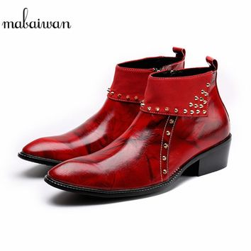 MENS RED LEATHER ZIPPER RIVET STYLE ANKLE BOOTS