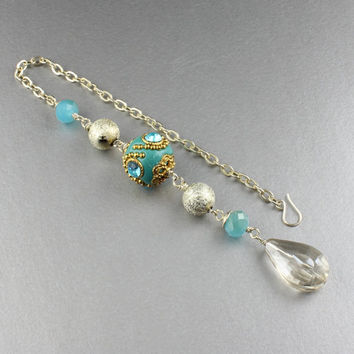 Rear View Mirror Crystal/Moroccan Inspired Wire Wrapped Beaded Rear View Mirror Crystal Charm/Rear View Mirror Hanging/Accessories For Car
