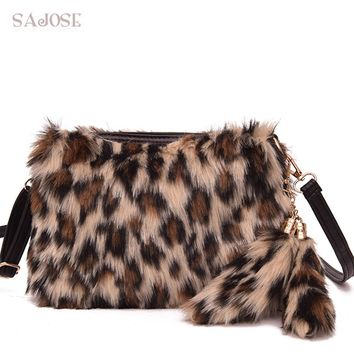 Faux Fur Bag Crossbody Bags For Women Fashion Leopard Girl Pendant Feathers Flap Shoulder Bag Lady Brand Classic Handbag SAJOSE
