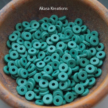 8mm Light Turquoise Blue Mykonos Greek Ceramic Beads (Packs of 25 or 50) Disc Spacers Roundels Donuts Throat Chakra Color Therapy Expression