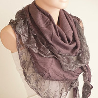 Purple Scarf from Knitting Fabric with ruffle tulle