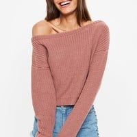 Missguided - Pink Cropped Off The Shoulder Sweater