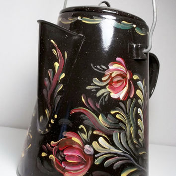Black Enamelware, Coffee Pot, Graniteware, Hand Painted, Scandinavian Design Rosemaling, Swedish Norwegian, Folk Art Style.