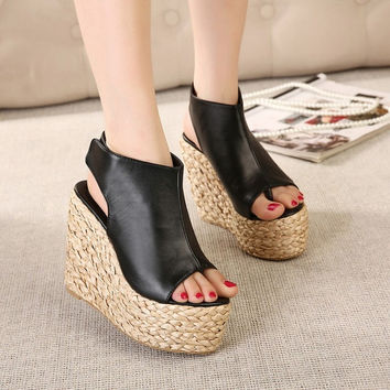 Millie Straw Wedge Sandals