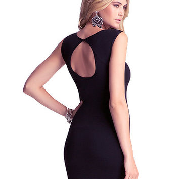 Black Sleeveless Bodycon Dress With Back Cut out