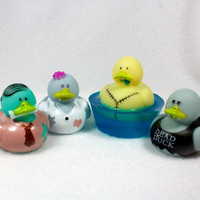 Zombie Duck Soaps - set of 4 - rubber duck, zombie rubber duck, walking dead, creepy cute, viewing party, party favors