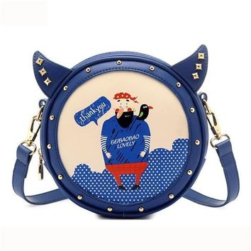 Lovely Cute Bags Cartoon Pattern Rivet Shoulder Bags Crossbody Bags