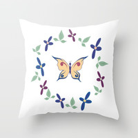 Floral Butterfly Throw Pillow by sm0w