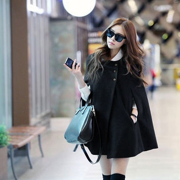 Womens Ladies Batwing Wool Poncho Winter Coat Jacket Warm Loose Cloak Cape Parka(BlackSize S-XL) = 1931968132