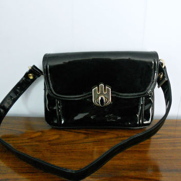 Vintage Black Purse  Empress Patent Leather by houseofheirlooms