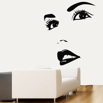 Wall Decals Vinyl Decal Model Girl Face Glamour Fashion People Spa Beauty Salon Home Vinyl Decal Sticker Kids Nursery Baby Room Decor kk177