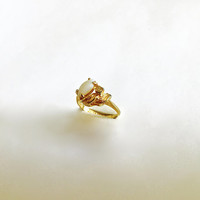 Vintage Prong Set Marquise Cut Faux White Opal and Round CZ in Leaf Design 18K HGE Setting, Approximate Size 5 1/4