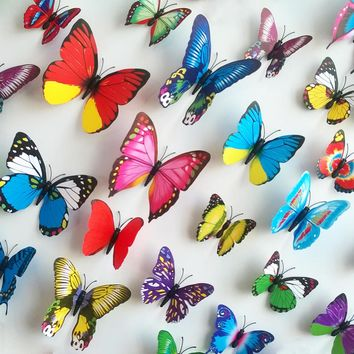 house decoration 12 PCS stereo butterflies refrigerator stickers home decor removable 3D wall stickers home decor