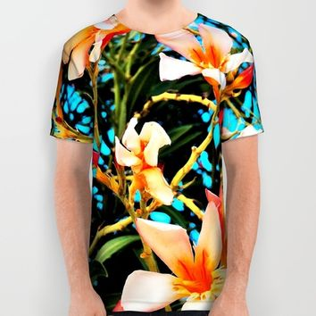 Flowers on Fire All Over Print Shirt by Yuval Ozery