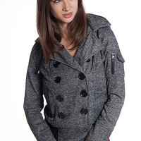 Ambiance Apparel Double Breasted Ribbed Waist Hooded Jacket - Charcoal