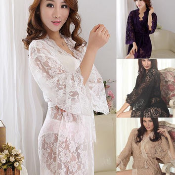 Babydolls Womens Sexy See Through Lace Sleepwear Robes Lingerie Nightgown Bathrobe Freeshipping