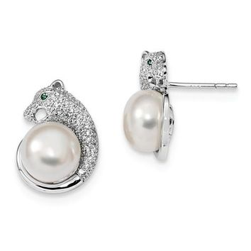 925 Sterling Silver CZ Panther Pearl Post Earrings