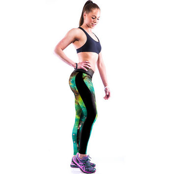 Camouflage Galaxy Printed Hight Waist Casual Sports Yoga Elastic Pants + Free Shipping