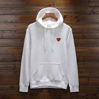 Winter new tide card PLAY red heart peach heart velvet hooded lovers long-sleeved sweater college wind White