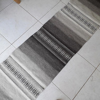 Striped handwoven wool rug runner in natural colors - brown, white and grey