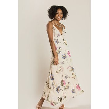 Ophelia Taupe Floral Maxi Dress