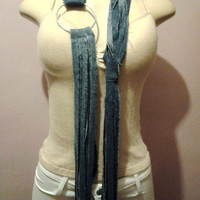 Attractive Denim Necklace Fashion Cowl Scarf with Beautiful Large Silver Ring, Long Scarf, Women Scarf, Ladies Scarf, String Scarf