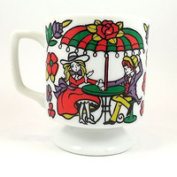 Boy Girl Flowers Coffee Mug Cup Vintage 8oz Pedestal Couple Romantic Cafe k338